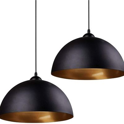 New Modern Pendant Light, Frideko 2 Pack Metal Gold Hemisphere Lamp Shade Ceiling Pendant Light for Restaurant Dining Room