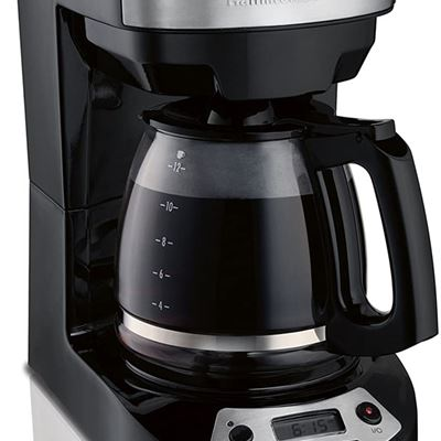 Used Hamilton-Beach Programmable Coffee Maker, 12 Cup Capacity, Brew Options, Glass Carafe, Black with Stainless Accents, 46299
