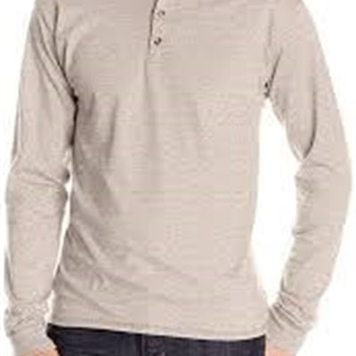 NEW Hanes Men's Long Sleeve Beefy Henley Shirt, XX-Large, Pebblestone Heather
