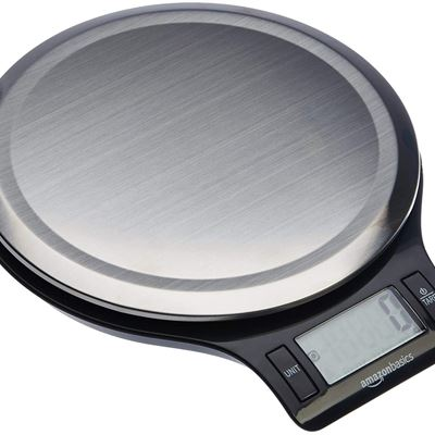 New AmazonBasics Stainless Steel Digital Kitchen Scale with LCD Display, Batteries Included