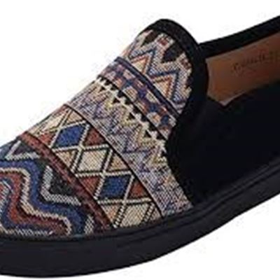 NEW Mila Lady (Cornelia Women Canvas Slip On Tribal Pattern Fashion Sneakers, 6, BLACK/BK