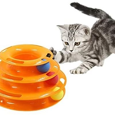 New AZGOGO Three Levels Pet Cat Toy Tower Tracks Disc Cat Intelligence Amusement Triple Pay Disc Cat Toys Ball Training Amusement Plate - Gold