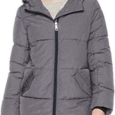 NEW Daily Ritual Women's Mid-Length Water-Resistant Primaloft Puffer Jacket, Large, Grey Heather