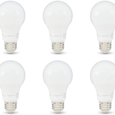 New AmazonBasics 60W Equivalent, Soft White, Dimmable, 10,000 Hour Lifetime, A19 LED Light Bulb | 6-Pack