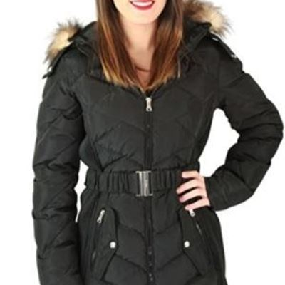 New Jessica Simpson Outerwear Women's Down Coat with Belt and Side Panel Details