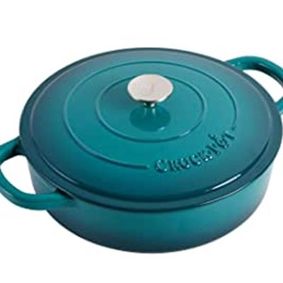 New Crock Pot Artisan Enameled Cast Iron Braiser W/Lid, 5 Quart, Teal Ombre