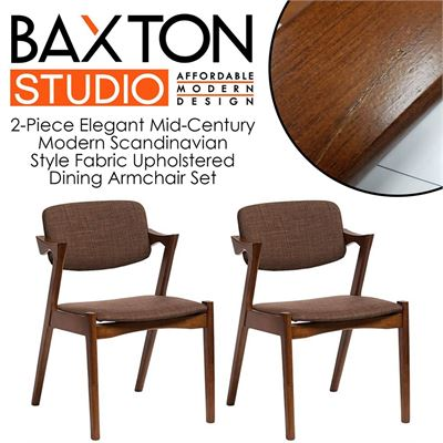 NEW Baxton Studio 2-Piece Elegant Mid-Century Modern Scandinavian Style Fabric Upholstered Dining Armchair Set, Dark Walnut